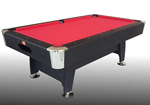 Table de Billard Noir Norman Light (Tissu Rouge)