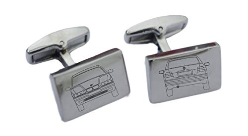Custom Made Car Manchetknopen - Blauwdruk van uw Bimmer Model Gegraveerd op Premium Kwaliteit Manchetknopen met Optie om uw Gepersonaliseerde Registratie Plaat graveren BMW0013sERIES3cOMPACT_E36-1993-2000