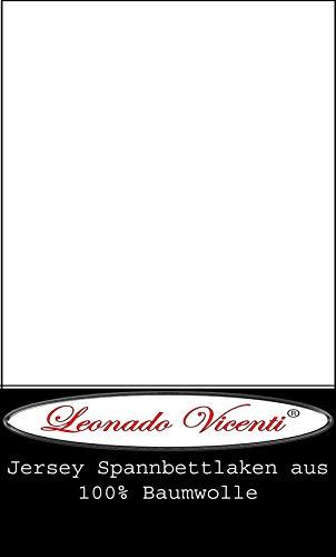 Leonado Vicent - Classic Spannbettlaken Bettlaken 100% Baumwolle Jersey Spannbetttuch in vielen Farben & Größen MARKENQUALITÄT ÖKO TEX Standard 100