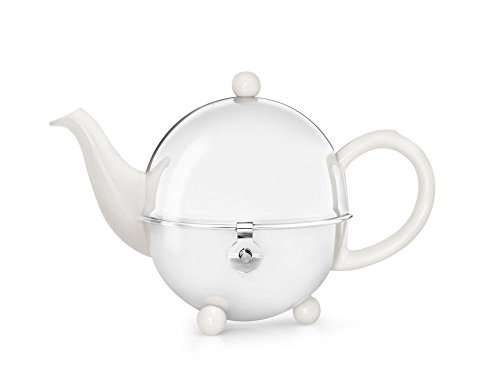 Steingut-Teekanne Cosy® cremeweiß mit filzisoliertem Edelstahlmantel 0,5 ltr.