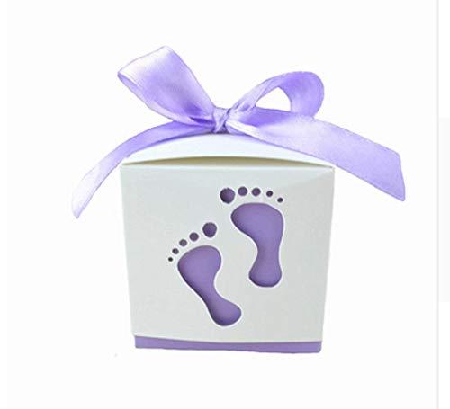 FGF Nieuwe 50 stks Leuke Baby Douche Partij Verjaardag Decoraties Geschenkdozen Bruiloft Favor Linten Snoepdozen Candy Box voeten Vorm Feest(Licht Paars)