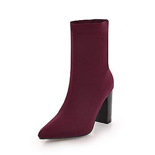 LYWNXEZ Dameslaarzen Formule schoenen blokhak punt PU (polyurethaan) laarzen met middelgrote kuit Brits/minimalistisch, herfst & winter zwart/blauw/wijn/party & avondje
