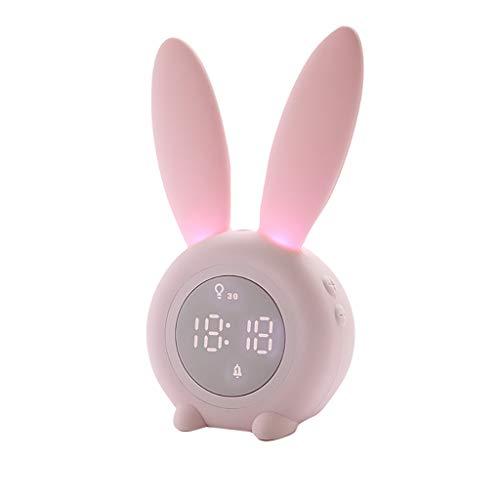 jieGorge Cute Rabbit Alarm Clock Creative Led Digital Snooze Cartoon Electronic Clock, Clock for Easter Day (Pink)