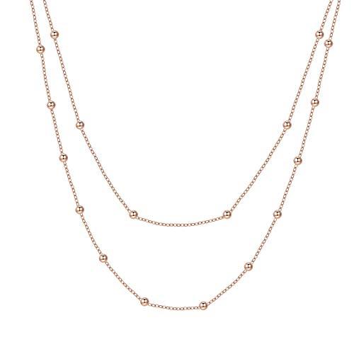Happiness Boutique Collana Multifilo Oro Rosa | Delicata Collana Doppia Catenina Bijoux Acciaio Inossidabile