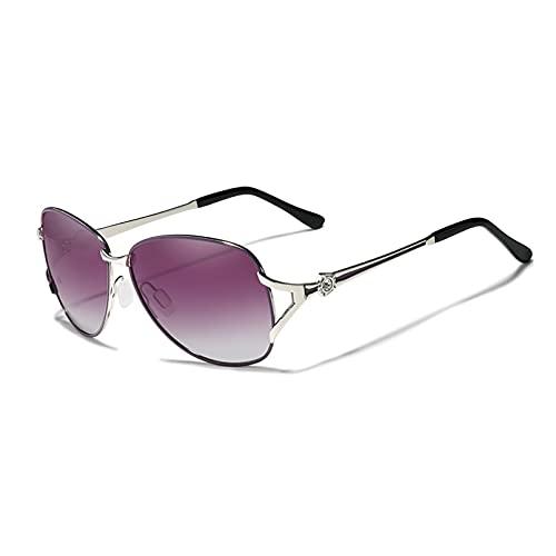 KUNIUO Gafas De Sol para Mujer Gafas De Sol De Lujo Lente Polarizada Degradada Gafas De Sol Redondas Mariposa Oculos Feminino-Purple Gradient