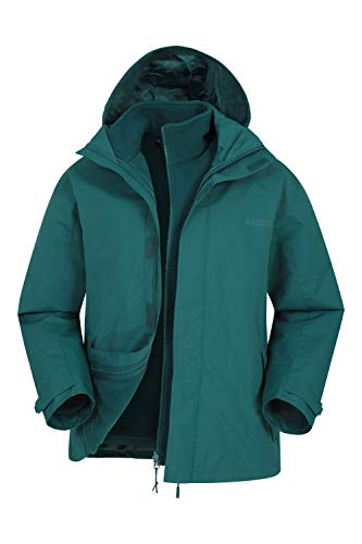 Mountain Warehouse Fell Wasserfeste 3 in 1 Herren Winterjacke, Warmer Fleecejacke, Regenjacke, Herrenjacke, Funktionsjacke, Allwetterjacke, Doppeljacke, Übergangsjacke, Winter Grün XS