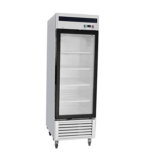 Stainless Steel Single 1 Door Commercial Glass Freezer Merchandiser Display Case MCF-8701-21 Cubic Feet