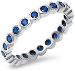 Precious Gem Jewellers Sterling September Large discharge sale Bezel Birthston Financial sales sale Silver