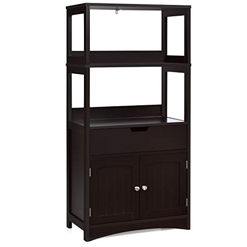 Tangkula Bathroom Floor Cabinet with Drawer, 2 Open Shelves and Door Cupboard, Multipurpose Free Standing Storage Cabinet for Bathroom Kitchen Living Room, 24 x 13 x 48 inch (Espresso)