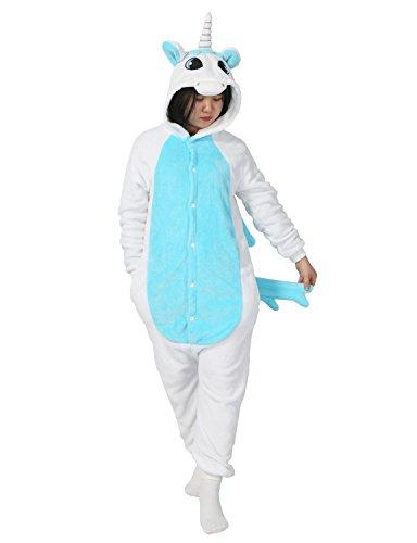 Pigiama Panda Kigurumi UnicornoUnisex Adulto Cosplay Halloween Carnevale Costume Animale Pigiama Pinguino (Blu Unicorno, Taglia M per Altezza 155-165 cm)