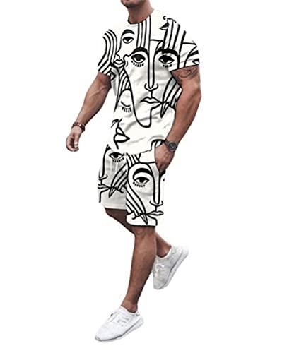 SSBZYES Camiseta para Hombre Pantalones Cortos De Manga Corta Verano Pantalones Cortos De Manga Corta para Hombre Traje Camiseta Pantalones De Cinco Puntos Estampado Deportivo Traje Informal
