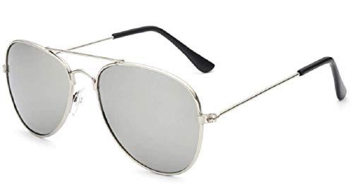 Gafas de sol de aviador para niños - gota - espejo - moda - clásico - primavera - otoño - invierno - verano - montura plateada - lente plateada