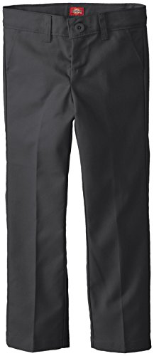 Dickies Big Girls' Slim Stretch Flat Front Pant, Black, 14 Regular