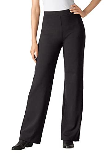 Woman Within Women's Plus Size Petite Wide Leg Ponte Knit Pant - 22 WP, Black
