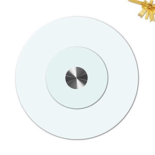 Lazy Susan Turntable, Heavy Duty Rotating Serving Tray, Large Glass Revolving Plate, Easy To Clean, Clear