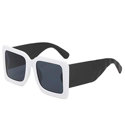 Gafas De Sol Hombre Mujeres Ciclismo Gafas De Sol Cuadradas para Hombre Gafas De Sol Verdes Clásicas para Mujer Gafas Rectangulares De Moda Vintage-Blanco