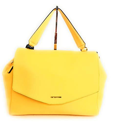 Cromia Damen-Handtasche mit Schultergurt aus Leder 1404229 Farbe: Bernstein, Größe: 34 x 24 cm.