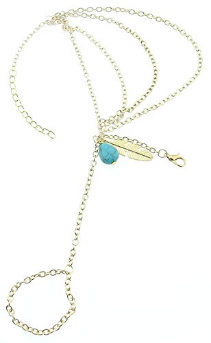 Ring - armband - kus - goudkleur - turquoise steen - veer
