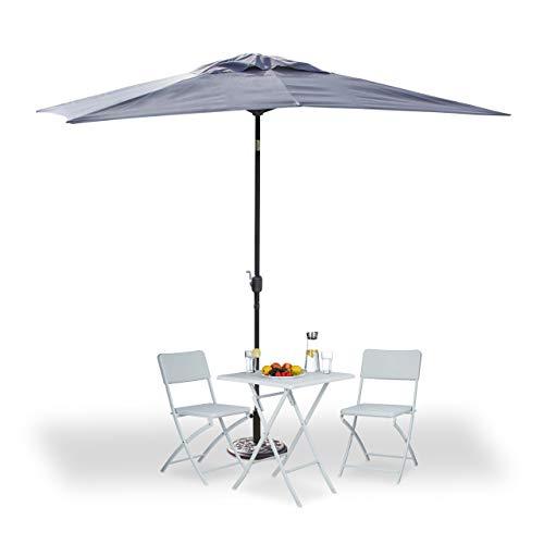 Relaxdays Sonnenschirm rechteckig 200x300cm, neigbarer Gartenschirm mit Kurbel, Balkonschirm ohne Ständer, grau
