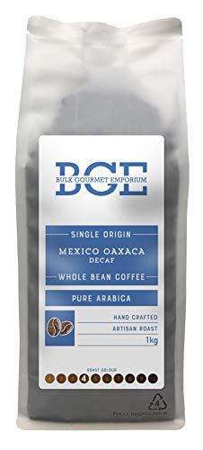 Bulk Gourmet Emporium - Café arábica en grano de Oaxaca de origen único descafeinado mediante el método Swiss Water, en bolsa reciclable de 1 kg (para 60-65 tazas aprox.)