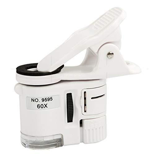DDyna Lupa 60X Mini microscopio Cámara de teléfono Clip portátil con joyería LED Antigüedades Identificación Lupa Lupa Lupa