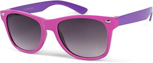styleBREAKER Kinder Nerd Sonnenbrille mit Kunststoff Rahmen und Polycarbonat Gläsern, klassiches Retro Design 09020056, Farbe:Gestell Pink-Lila / Glas Grau Verlauf