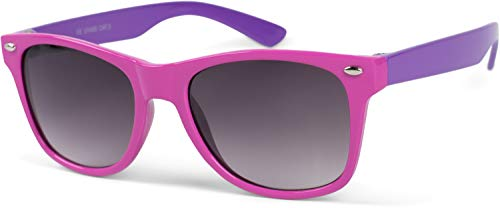 styleBREAKER Kinder Nerd Sonnenbrille mit Kunststoff Rahmen und Polycarbonat Gläsern, klassiches Retro Design 09020056, Farbe:Gestell Pink-Lila/Glas Grau Verlauf