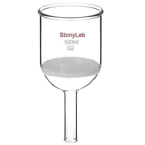 StonyLab Glas Büchnertrichter, Borosilikatglas Buchner Filtertrichter mit mittlerer Fritte(G2), 94mm Scheibendurchmesser, 100mm Tiefe, mit 24/40 Standard Taper Innengelenk - 500ml