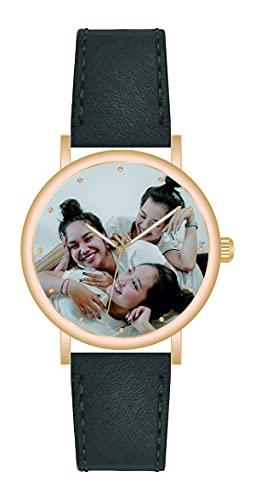 Memories - Reloj de pulsera personalizado con tu foto, reloj de oro rosa para amigos y familia, fabricado en Alemania