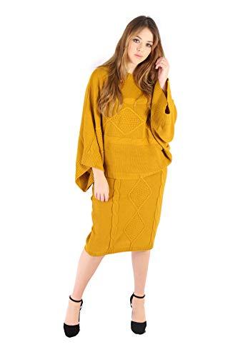 Mymixtrendz - Cordn de punto para mujer, falda de punto, 2 piezas, disfraz de media disfraz para mujer mostaza 40-42