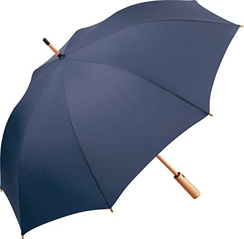 ÖkoBrella nachhaltiger Midsize-Bambus Stockschirm Regenschirm (Oeko-TEX® 100) mit Automatik-Funktion; Bezug aus recycelten Kunststoffen; hochwertiger Bambusgriff; Windproof-System (Marine)