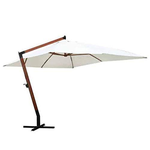 Cikonielf Parasol de jardin 3 x 4 m avec base et manivelle en polyester imperméable pour bar, jardin, mer, piscine, blanc