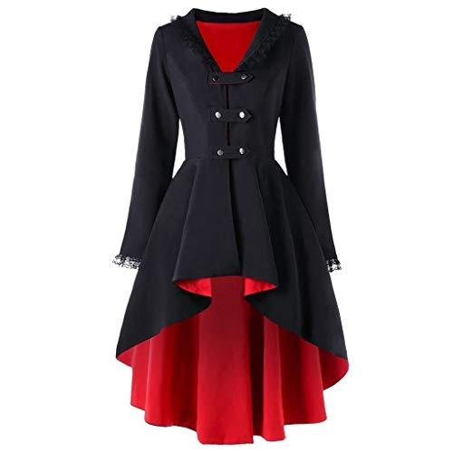 YWLINK Gothic Cosplay Mantel Spitze Patchwork Slim Retro 1950 Er UnregelmäßIg Jacke Vokuhila Asymmetrisch Coat(A Rot,L)