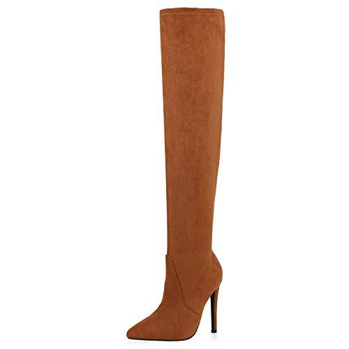 SCARPE VITA Damen Stiefel Overknees Stiletto High Heels Boots Wildleder-Optik Schuhe Elegante Absatzschuhe Langschaftstiefel 188044 Hellbraun 37