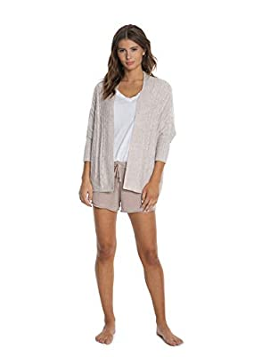 Barefoot Dreams CozyChic Lite Cable Shrug,Women 3/4 Sleeve Cardi, Open Front Oversized Sweaters by Barefoot Dreams