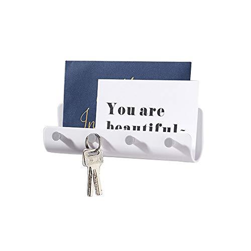 Hakenleiste selbstklebend, wandmontierte Schlüsselleiste mit Briefablage aus Kunststoff und vier Haken ideal für ordentliche und platzsparende Aufbewahrung von Schlüsseln, Briefen, Prospekten (Weiß)