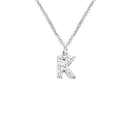 S925 Silver 26 Initial English Letter Crystal Chain Necklace For Women Girl Best Gift (K)
