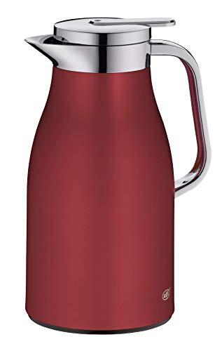 alfi Skyline, Thermoskanne Edelstahl rot 1l mit doppelwandigem alfiDur Vakuum-Hartglaseinsatz. Isolierkanne hält 12 Stunden heiß, ideal als Kaffeekanne oder als Teekanne - 1321.300.100