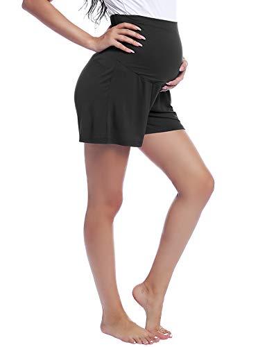 Joyaria Kurze Umstandsshorts/Umstandshose Schwangerschaft Hosen Shorts Baumwolle(Schwarz,XXL)