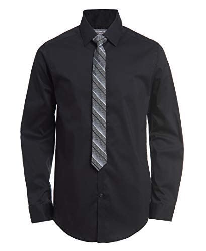 Van Heusen Boys Long Sleeve Dress Shirt and Tie Set, Black Poplin, Medium-10/12