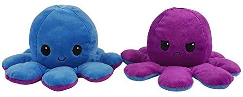Oktopus-Plüschtier, wendbares Spielzeug, Blau+Lila weiches Stofftier, 1 Stück