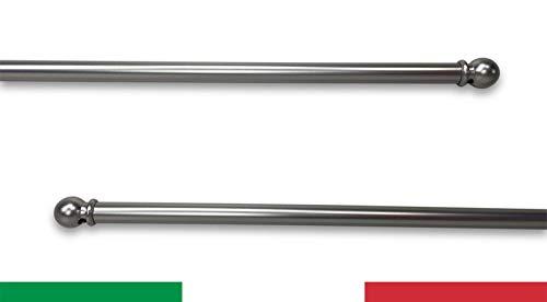 Paire de tringles Tex en laiton nickelé argenté réglables pour rideau en verre – 55 – 100 cm