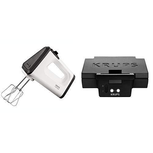 Krups GN5021 Handmixer mit Turbostufe (500 Watt, 3 Mix 5500, Turbo-Quirle und Spriral-Kneter aus edelstahl) weiß/schwarz & FDK 451 Sandwich-Toaster (850 Watt, Toastplatten 25 x 12 cm) schwarz