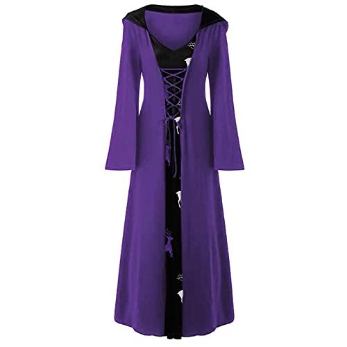BIBOKAOKE Robe pour femme gothique, vêtements de carnaval, costume médiéval, costume de Noël imprimé, robe à manches longues, robe de soirée, robe de Noël à capuche, robe médiévale.
