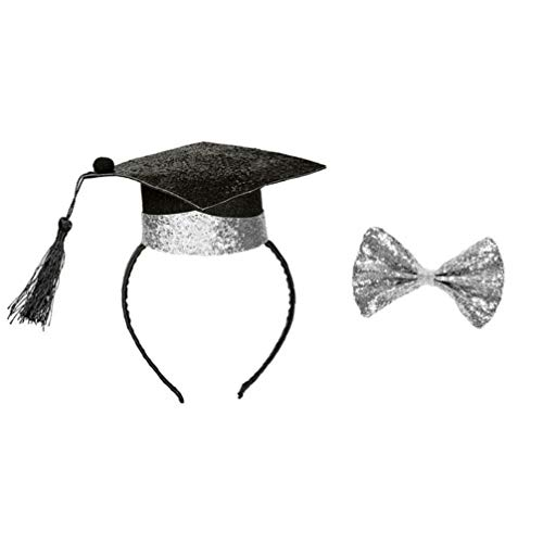 PRETYZOOM Mini Doktor Hut Haar Reifen Bachelor Cap Stirnband mit Krawatte 2020 Abschlusshut Kopfbedeckung mit Quasten für Klasse 2020 Abschlussfeier Versorgung