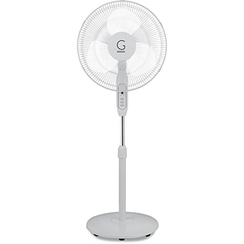 Genesis Adjustable Height Oscillating Max Cool Stand Fan with Remote, White