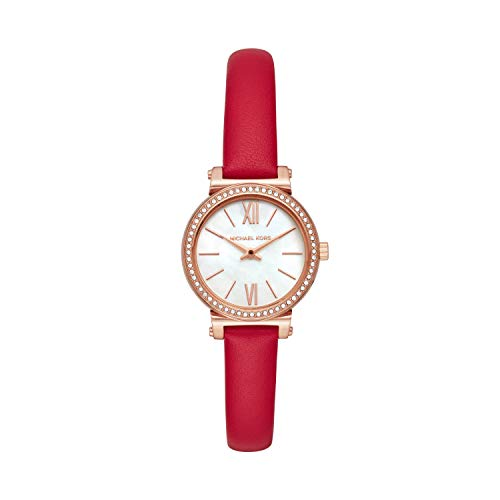 Michael Kors Women's Sofie Stainless Steel Quartz Watch with Leather Strap, Red, 10 (Model: MK2850)