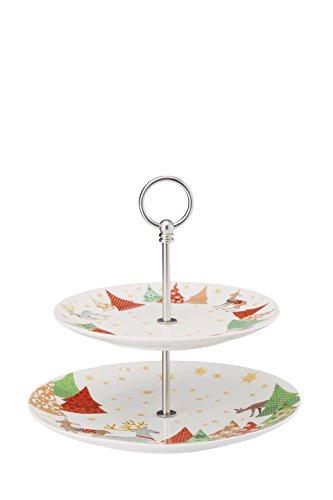 Hutschenreuther sammel série O de Chansons de Noël Sapin Présentoir à gâteaux 2 pièces/22–28 cm 2 pièces, Porcelaine, Multicolore, 28 x 28 x 5 cm