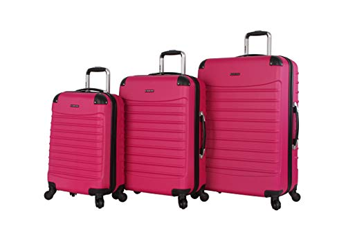 Ciao Voyager Luggage Collection - 3 Piece Hardside Lightweight Spinner Suitcase Set - Travel Set includes 20-Inch Carry On, 24 inch and 28-Inch Checked Suitcases (Voyager Rose Pink)
