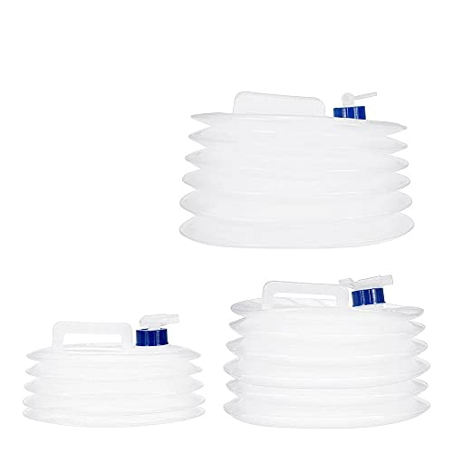 KUNSE Recipiente de Agua Plegable de 5/10 / 15L Grado Alimenticio PE Cámping Botella de Agua Multifunción de Almacenamiento Telescópico Agua Bolsa - M